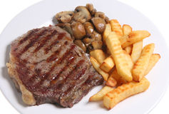 Sirloin Steak & Chips or Fries Royalty Free Stock Images