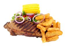 Sirloin Steak And Chips Meal Royalty Free Stock Photography