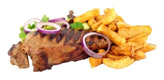 Sirloin Steak And Chips Meal Stock Images