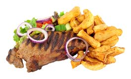 Sirloin Steak And Chips Meal Stock Image