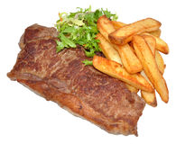 Sirloin Steak And Chips Stock Photo