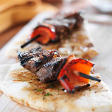 Sirloin steak mini kabobs with pita bread Royalty Free Stock Photography