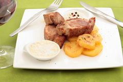 Sirloin steak with sauces Stock Photos