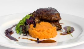 Sirloin Steak with Sweet Potato Stock Images