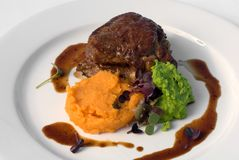 Sirloin Steak with Sweet Potato Royalty Free Stock Photography