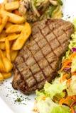 Sirloin Steak With Chips ,mushrooms,salad Stock Image
