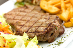 Sirloin Steak With Chips ,mushrooms,salad Royalty Free Stock Image