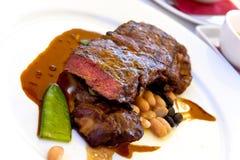 Sirloin strip Steak with green Beans ,vegetables a Stock Photos