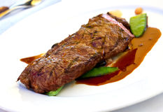 Sirloin strip Steak with green Beans ,vegetables a Royalty Free Stock Images