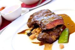 Sirloin strip Steak with green Beans ,vegetables a Stock Photo