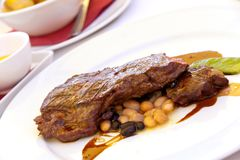 Sirloin strip Steak with green Beans ,vegetables a Stock Images