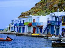 Milos Island, Cyclades, Greece. Traditional greek fishing village on a cycladic island Royalty Free Stock Photography