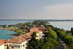 Sirmione. View from The Scaliger Castle at Sirmione, Lake Garda, Italy stock photos