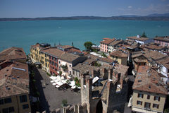 Sirmione from the above. An incredible view of the Garda Lake and of the city center of Sirmione from the top of the castle Royalty Free Stock Photo