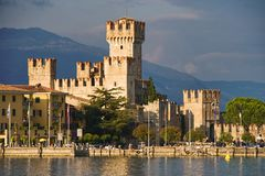 Sirmione Castle. Scenic view of Sirmione castle viewed across lake Garda, Brescia, Italy Royalty Free Stock Images