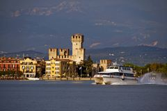 Sirmione castle. Scaliger Castle (13th century) in Sirmione by lake Garda, Italy Royalty Free Stock Photography