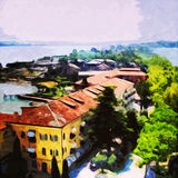 Sirmione. Digital painting of small village Sirmione, Italy stock illustration