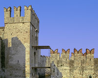 Sirmione drawbridge. Detail of sirmione castle, well-preserved medieval fortress on Garda Lake, Italy, showing drawbridge and typical battlements Stock Images