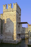 Sirmione drawbridge. Detail of sirmione castle, well-preserved medieval fortress on Garda Lake, Italy, showing drawbridge and typical battlements Stock Image
