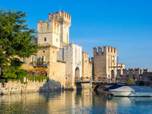 Sirmione fortress with bridge and Garda lake Stock Photography