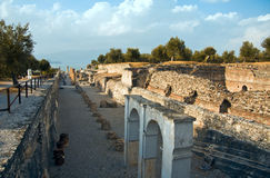 Sirmione Garda Lake. Catullo's cave ruins in the peninsula of Sirmione royalty free stock image