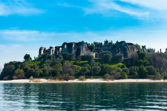 Sirmione - Garda Lake. View of Sirmione sul Garda from the Boat Stock Photo
