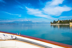 Sirmione - Garda Lake. View of Sirmione sul Garda from the Boat Stock Images