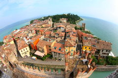 Sirmione,Italy. Fisheye view at the old town of Sirmione and the lake Garda, Italy Stock Photo