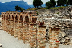 Sirmione, Italy: Brick Arches at Grottoes of Catallus Royalty Free Stock Photo