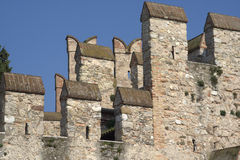 Sirmione (Italy) - Castle's battlements. The battlement of the castle in Sirmione - Italy (Lake Garda Royalty Free Stock Photography