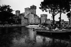 Sirmione, Italy. Illuminated Scaliger Castle Royalty Free Stock Photos