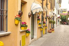 Sirmione, Italy - oct 2017: town of Sirmione, colorful street view, tourist destination in Lombardy region of Italy.Lago di Garda. Town of Sirmione , tourist Stock Photo