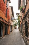 Sirmione, Italy - oct 2017: town of Sirmione, colorful street view, tourist destination in Lombardy region of Italy.Lago di Garda. Town of Sirmione , tourist Royalty Free Stock Photos