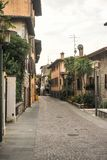Sirmione, Italy - oct 2017: town of Sirmione, colorful street view, tourist destination in Lombardy region of Italy.Lago di Garda. Town of Sirmione , tourist Stock Photos