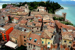 Sirmione, Italy: View over Orange Tile Rooftops Stock Photography