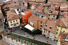 Sirmione, Italy: View of the Town's Ancient Houses Stock Photo