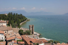 Sirmione by Lake Garda. A fabulous scenery of city and oceanfront in Sirmione, Italy, taken from top of the tower Royalty Free Stock Images