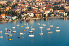 Sirmione by lake Garda, Italy. Aerial view of Sirmione by lake Garda, Italy Stock Photo