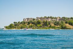 Sirmione, Lake Garda. Italy. view on ruins of Grotto of Catullus Stock Images