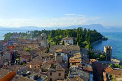 Sirmione in the lake. View of city Sirmione and the lake Royalty Free Stock Photos