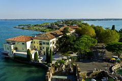 Sirmione in the lake. View of city Sirmione and the lake Royalty Free Stock Images