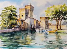 Sirmione watercolors painted royalty free stock photos
