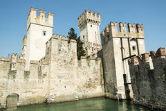 Sirmione, old castle on the Garda lake Royalty Free Stock Photo