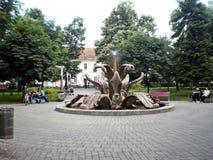 Sirmium斯雷姆斯卡米特罗维察,龙头在城市公园 免版税图库摄影