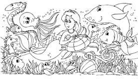 Sirène et ses amis Images stock