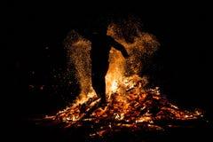 Sirni Zagovezni fire jumping Stock Photography