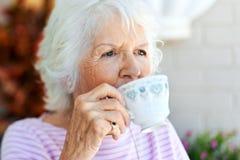 Siroter un thé Photo libre de droits