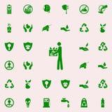sirva con el icono usado del verde de botellas sistema universal de los iconos de Greenpeace para el web y el móvil ilustración del vector