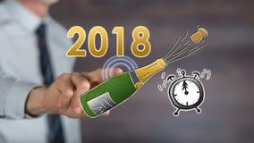 Sirva el Año Nuevo conmovedor 2018 en una pantalla táctil Imagenes de archivo