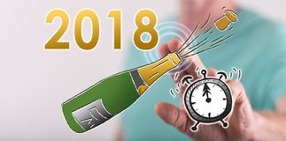 Sirva el Año Nuevo conmovedor 2018 en una pantalla táctil Fotografía de archivo